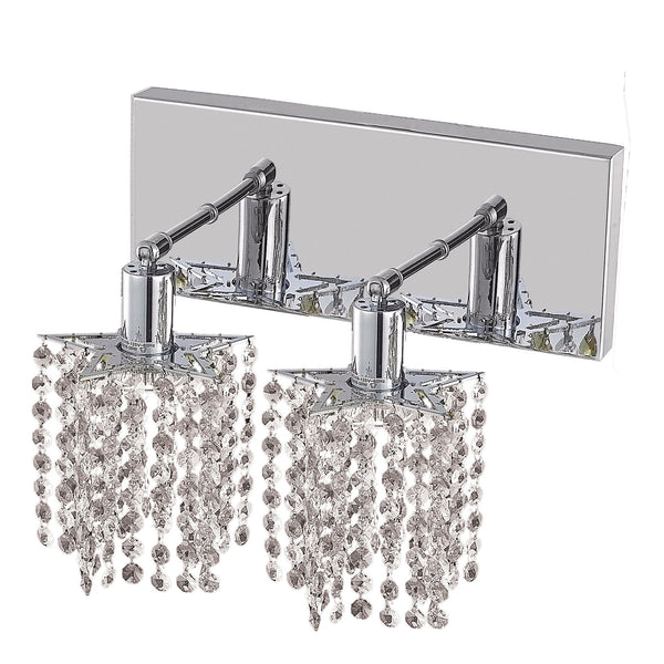 "Elegant Lighting 1282W-O-P-CL/SA Mini Collection Wall Fixture Oblong Canopy L8"" x 4.5"" x H13.5"" Star Pendant, Chrome Finish (Swarovski Spectra Crystals) - Mega Supply Store"