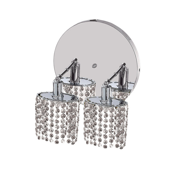 "Elegant Lighting 1282W-R-E-CL/EC Mini Collection Wall Fixture Round Canopy L8"" x 4.5"" x H13.5"" Ellipse Pendant, Chrome Finish (Elegant Cut Crystals) - Mega Supply Store"