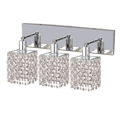 "Elegant Lighting 1283W-O-S-CL/RC Mini Collection Wall Fixture Oblong Canopy D14.5"" x 4.5"" x H13.5"" Square Pendant, Chrome Finish (Royal Cut Crystals) - Mega Supply Store"