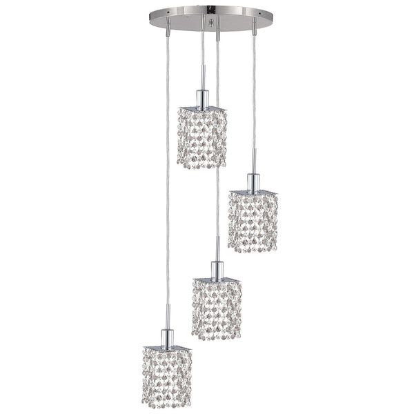"Elegant Lighting 1284D-R-S-CL/SA Mini Collection Hanging Fixture Round Canopy L13.5"" x W13.5"" x H12"" x 48"" Square Pendant, Chrome Finish (Swarovski Spectra Crystals) - Mega Supply Store"