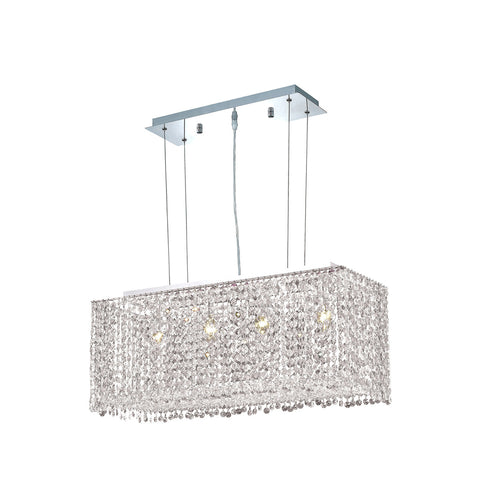 "Elegant Lighting 1291D26C-CL/EC Moda Collection Dining Room Hanging Fixture L26"" x W9.5"" x H11"" Chrome Finish (Elegant Cut Crystals) - Mega Supply Store"