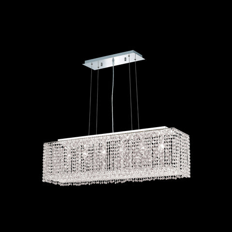 "Elegant Lighting 1291D38C-CL/EC Moda Collection Dining Room Hanging FixtureL38"" x W9.5"" x H11"" Chrome Finish (Elegant Cut Crystals) - Mega Supply Store"