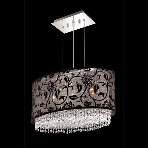 "Elegant Lighting 1592D21C-CL03/RC Moda Collection Dining Room Hanging Fixture w/ SH-1E21B Black Fabric Shade L21"" x W12.5"" x H11"" Chrome Finish (Royal Cut Crystals) - Mega Supply Store"
