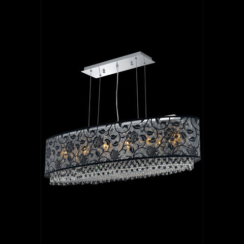"Elegant Lighting 1592D40C-CL03/SS Moda Collection Dining Room Hanging Fixture w/ SH-1E40B Black Fabric Shade L40"" x W13"" x H11"" Chrome Finish (Swarovski Strass/Elements Crystals) - Mega Supply Store"