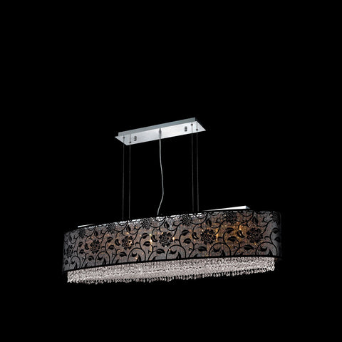 "Elegant Lighting 1592D49C-CL03/RC Moda Collection Dining Room Hanging Fixture w/ SH-1E49B Black Fabric Shade L49"" x W12.5"" x H11"" Chrome Finish (Royal Cut Crystals) - Mega Supply Store"