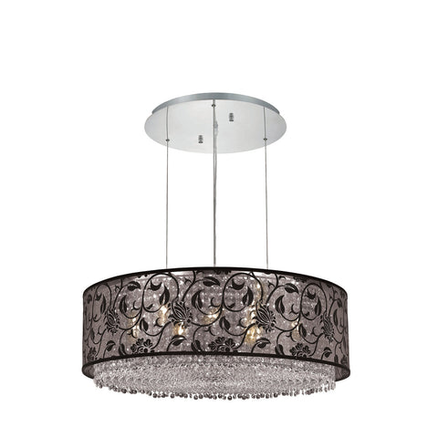 "Elegant Lighting 1593D30C-CL03/SS Moda Collection Dining Room Hanging Fixture w/ SH-1R30B Black Fabric Shade D30"" x H11"" Chrome Finish (Swarovski Strass/Elements Crystals) - Mega Supply Store"