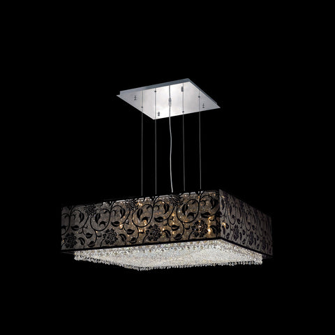 "Elegant Lighting 1594D30C-CL03/SS Moda Collection Dining Room Hanging Fixture w/ SH-1S30B Black Fabric Shade L30"" x W30"" x H11"" Chrome Finish (Swarovski Strass/Elements Crystals) - Mega Supply Store"