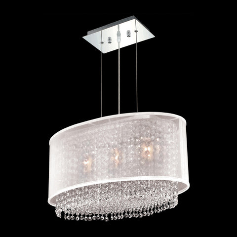 "Elegant Lighting 1692D21C-CL03/SS Moda Collection Dining Room Hanging Fixture w/ Silver Fabric Shade L21"" x W12.5"" x H11"" Chrome Finish (Swarovski Strass/Elements Crystals) - Mega Supply Store"