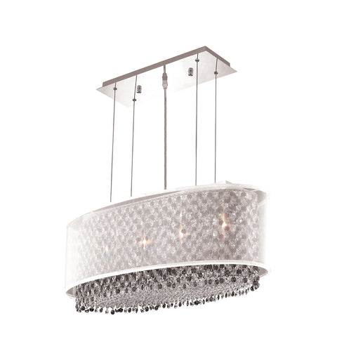 "Elegant Lighting 1692D29C-CL03/SS Moda Collection Dining Room Hanging Fixture w/ Silver Fabric Shade L29"" x W13"" x H11"" Chrome Finish (Swarovski Strass/Elements Crystals) - Mega Supply Store"