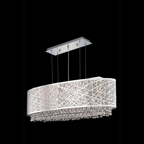 "Elegant Lighting 1692D35C-CL03/SS Moda Collection Dining Room Hanging Fixture w/ Silver Fabric Shade L35"" x W13"" x H11"" Chrome Finish (Swarovski Strass/Elements Crystals) - Mega Supply Store"