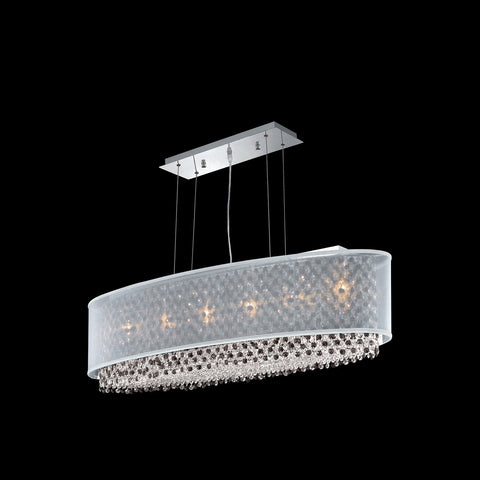 "Elegant Lighting 1692D40C-CL03/SS Moda Collection Dining Room Hanging Fixture w/ Silver Fabric Shade L40"" x W13"" x H11"" Chrome Finish (Swarovski Strass/Elements Crystals) - Mega Supply Store"
