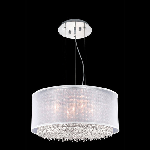 "Elegant Lighting 1693D21C-CL03/SS Moda Collection Dining Room Hanging Fixture w/ Silver Fabric Shade D21"" x H11"" Chrome Finish (Swarovski Strass/Elements Crystals) - Mega Supply Store"