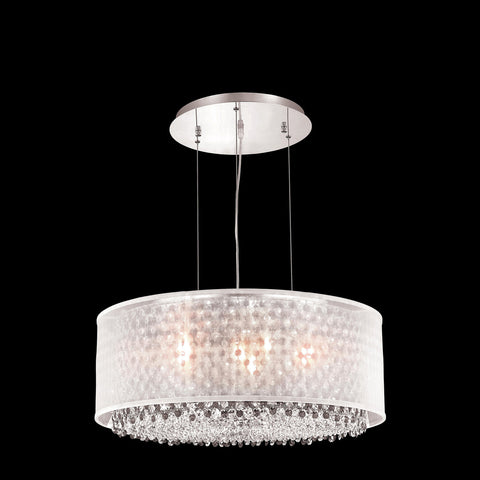 "Elegant Lighting 1693D25C-CL03/RC Moda Collection Dining Room Hanging Fixture w/ Silver Fabric Shade D25"" x H11"" Chrome Finish (Royal Cut Crystals) - Mega Supply Store"