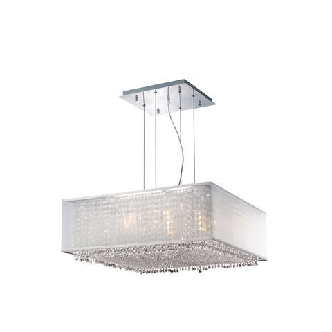 "Elegant Lighting 1694D26C-CL03/RC Moda Collection Dining Room Hanging Fixture w/ Silver Fabric Shade L26"" x W26"" x H11"" Chrome Finish (Royal Cut Crystals) - Mega Supply Store"