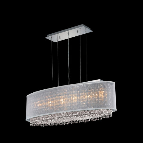 "Elegant Lighting 1792D35C-CL03/RC Moda Collection Dining Room Hanging Fixture w/ Metal Shade L35"" x W13"" x H11"" Chrome Finish (Royal Cut Crystals) - Mega Supply Store"
