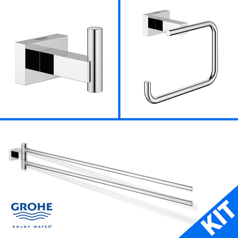 Grohe Eurocube Essentials 40511000 40507001 40624000 Bathroom Accessory Kit - Mega Supply Store - 1