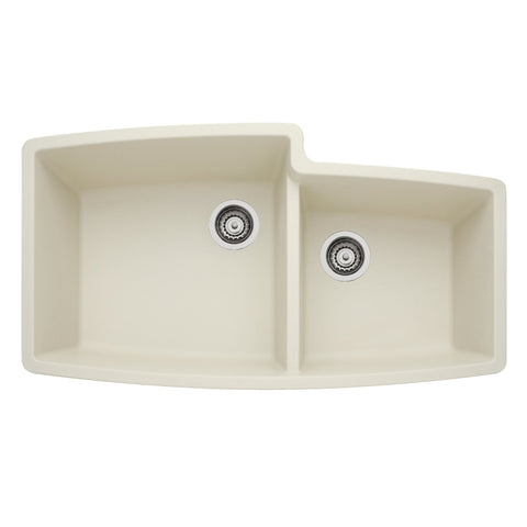 Blanco 440075 Performa Double Basin Silgranit II Kitchen Sink with 1-3/4 Bowl Configuration, Biscuit - Mega Supply Store