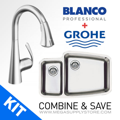 Blanco 440114 (SKU: 513-634) Kitchen Sink and Grohe 32298SD1 Faucet - Mega Supply Store - 1
