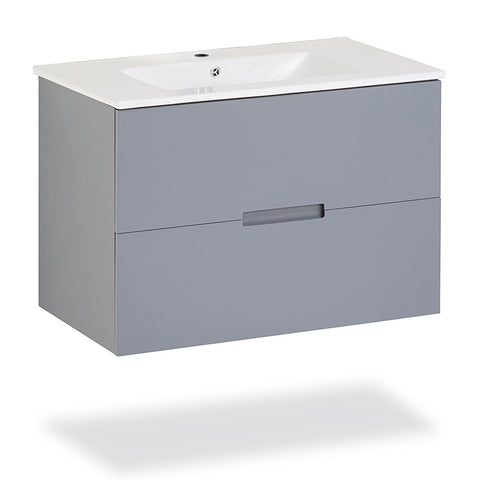"Sasha 32"" Floating Wall-Hung Bathroom Vanity with Sink-Top (Gray) with 2 Drawers"