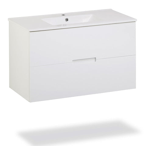 "Sasha Cabinetry 36"" Floating Wall-Hung Bathroom Vanity with Sink-Top (White) with 2 Drawers"