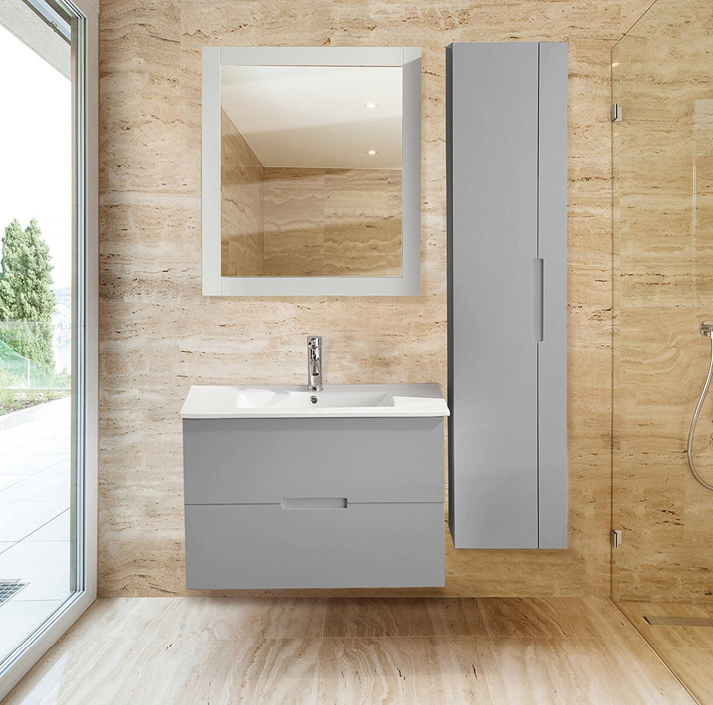 sasha 32 floating wall hung bathroom vanity with sink top gray - Wall Mounted Bathroom Vanity