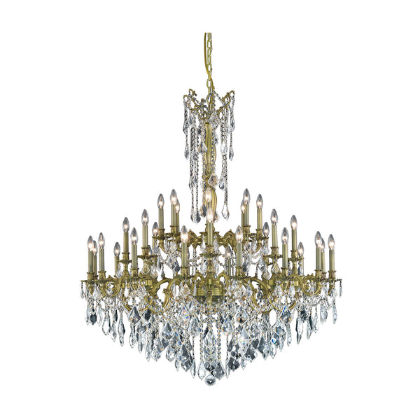 "Elegant Lighting 9232G48AB/RC Rosalia Collection Foyer/Hallway Large Hanging Fixture D48"" x H54"" x Antique Bronze Finish (Royal Cut Crystals) - Mega Supply Store"