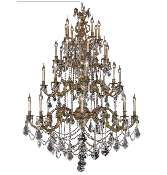"Elegant Lighting 9532G48FG/EC Marseille Collection Foyer/Hallway Large Hanging Fixture D48"" x H64"" Dark Bronze Finish (Swarovski Strass/Elements Golden Shadow Crystal) - Mega Supply Store"