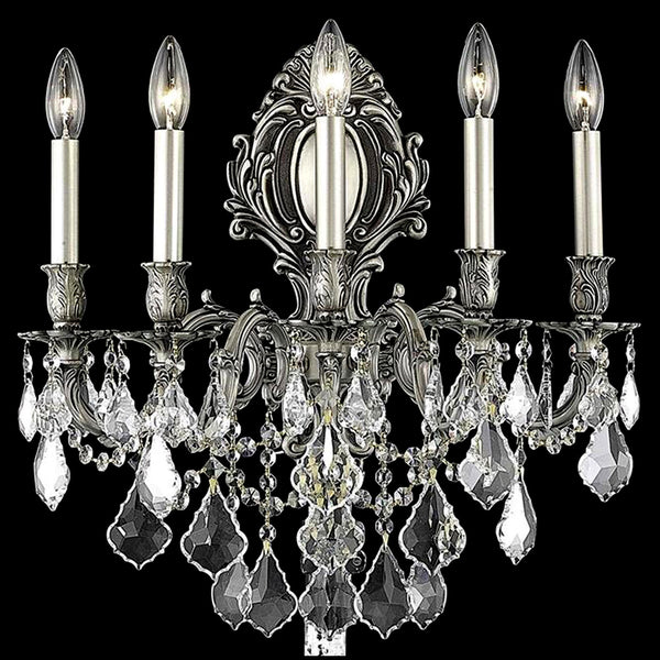 "Elegant Lighting 9605W21PW/SS Monarch Collection Wall Sconce W21"" x H24"" x E11"" Pewter Finish (Swarovski Spectra Crystals) - Mega Supply Store"