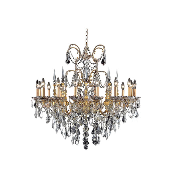 "Elegant Lighting 9716D35FG/SS Athena Collection Dining Room Hanging Fixture D35"" x H33"" French Gold Finish (Swarovski Spectra Crystals) - Mega Supply Store"