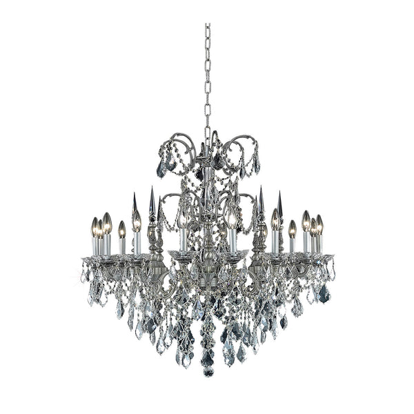 "Elegant Lighting 9716D35PW/EC Athena Collection Dining Room Hanging Fixture D35"" x H33"" Pewter Finish (Elegant Cut Crystals) - Mega Supply Store"