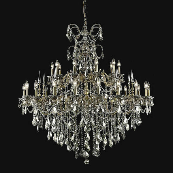 "Elegant Lighting 9730G53FG-GT/RC Athena Collection Foyer/Hallway Hanging Fixture D53"" x H54"" Pewter Finish (Elegant Cut Crystals) - Mega Supply Store"