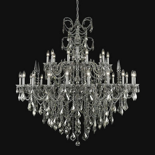 "Elegant Lighting 9730G53PW-GT/SS Athena Collection Foyer/Hallway Hanging Fixture D53"" x H54"" Pewter Finish (Swarovski Strass/Elements Crystals) - Mega Supply Store"