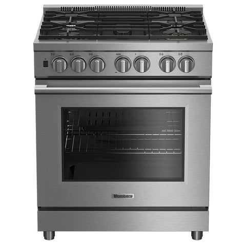 "Blomberg BGRP34520SS 30"" Pro Gas Stainless Range with 5.7 cu ft Self Clean Oven, 5 Burner, Track Light - Mega Supply Store"