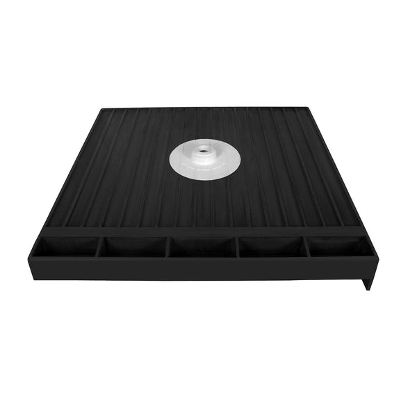 "Tile Redi 3232CDR-PVC 32"" x 32"" Integrated Center PVC Drain Shower Pan/Tray with Right Dual Curb - Mega Supply Store - 1"