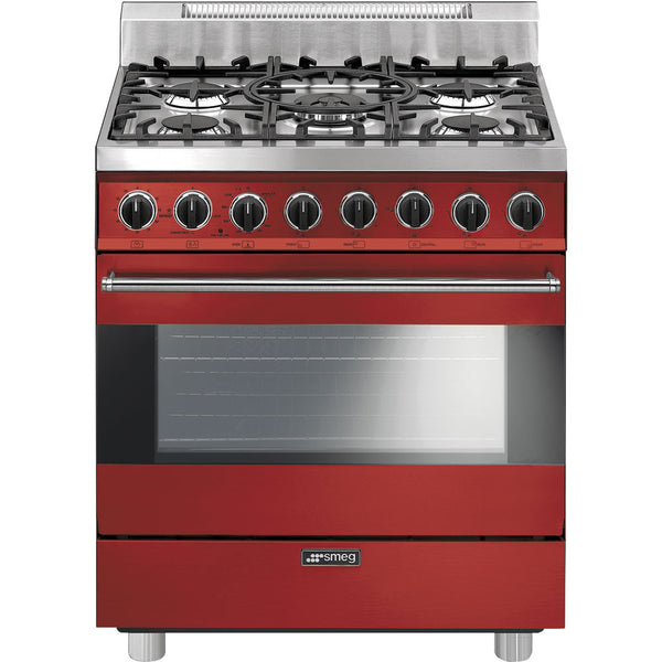 "Smeg C30GGRU 30"" ""Pro-Style"" All-Gas Range Red - Mega Supply Store"