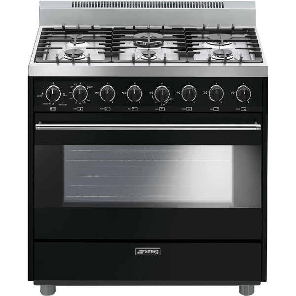 "Smeg C36GGNU 36"" ""Pro-Style"" All-Gas Range Black - Mega Supply Store"