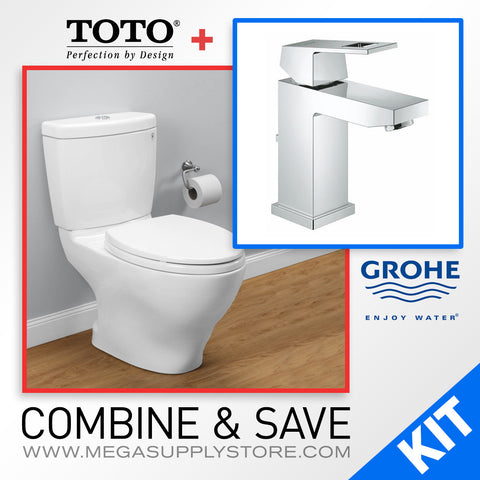 TOTO CST416M Aquia II Two-Piece Toilet, Elongated & Grohe 23129000 Eurocube Bathroom Faucet - Mega Supply Store - 1