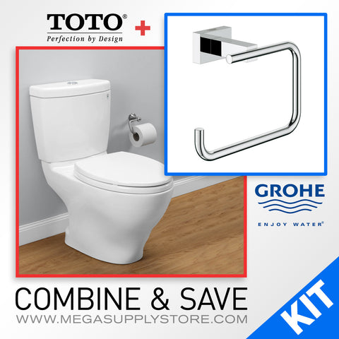 TOTO CST416M Aquia II Dual Flush 2-Piece Toilet, Elongated Bowl with Grohe 40507000 Essentials Cube Toilet Paper Holder - Mega Supply Store - 1