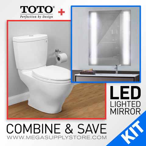 "TOTO CST416M Aquia II Dual Flush Two-Piece Toilet, Elongated with Lighted 30"" LED Mirror - Mega Supply Store - 1"
