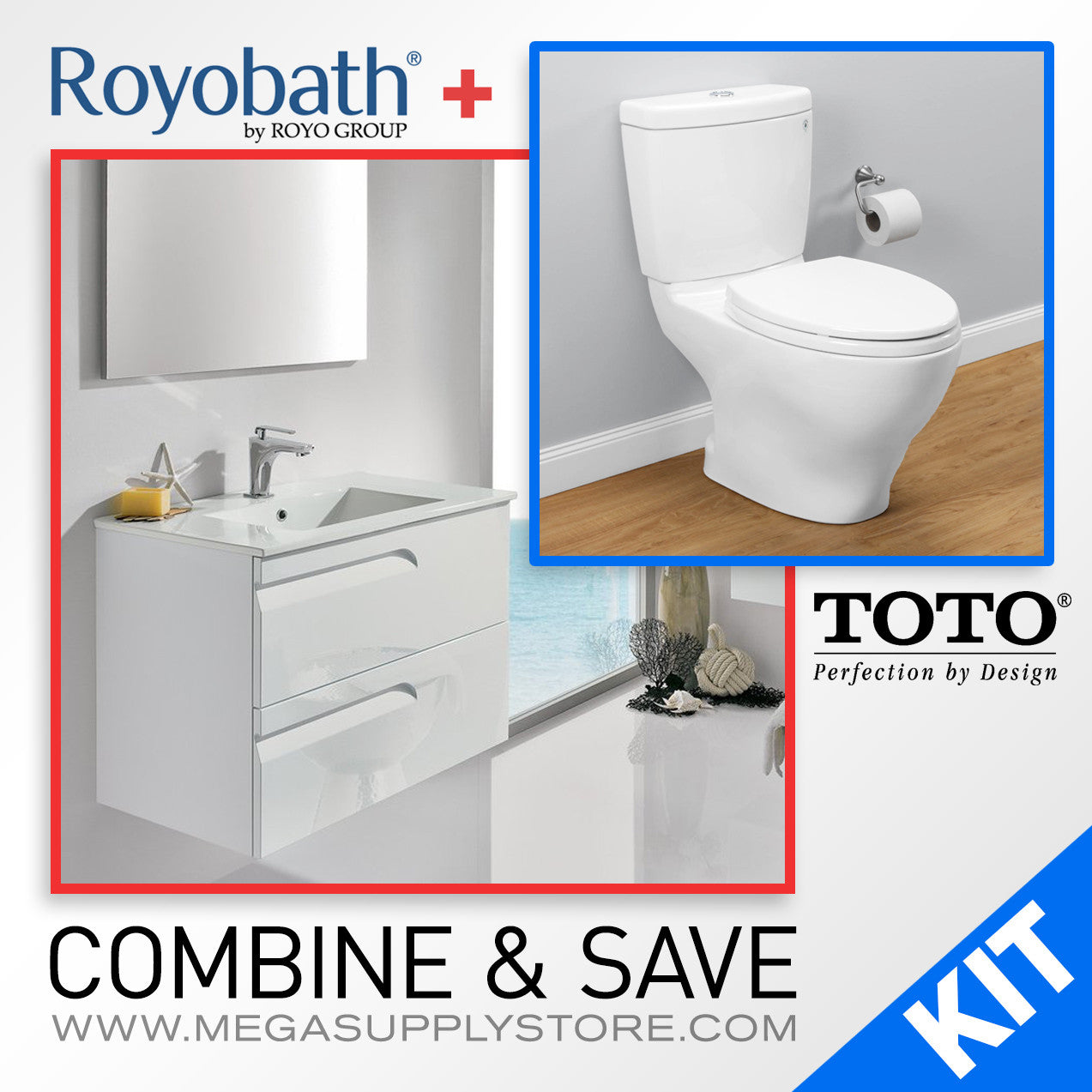"TOTO CST416M Aquia II Elongated Toilet & Royo Vitale 24"" Vanity/Sink"