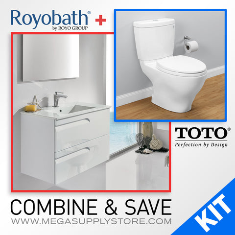 "TOTO CST416M Aquia II Two-Piece Toilet, Elongated & 24"" Royo Vitale Wall-Hung Vanity with Sink, White - Mega Supply Store - 1"