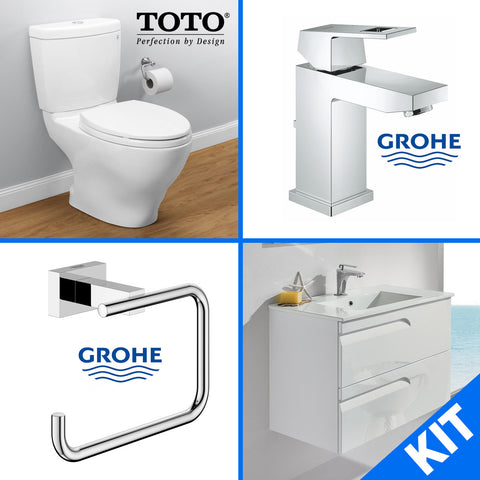 "TOTO CST416M Aquia II Toilet, Elongated with Softclose Seat, 24"" Vanity, Grohe 23129000 Faucet & Toilet Paper Holder - Mega Supply Store - 10"