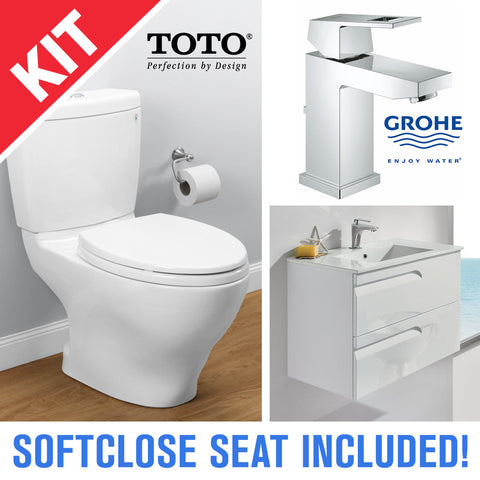 "TOTO CST416M Aquia II 2-Piece Toilet with Seat, 24"" Vanity, and Grohe 23129000 Eurocube Faucet - Mega Supply Store - 1"