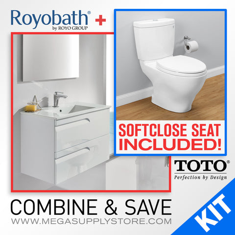 "TOTO CST416M#01 Aquia II Elongated 2-Piece Toilet with seat and a 24"" Royo Vanity with Sink - Mega Supply Store - 1"