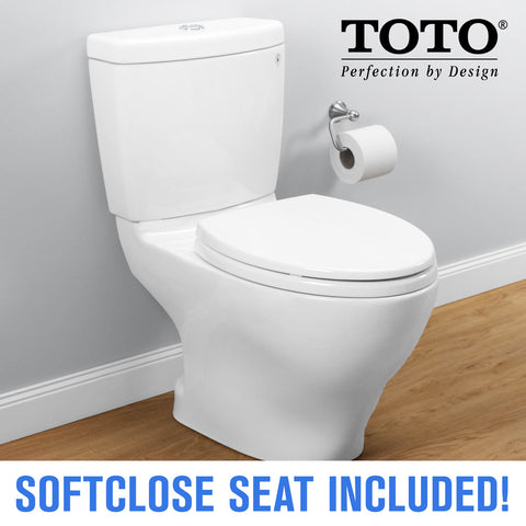 TOTO CST416M Aquia II Two-Piece Toilet, Elongated with TOTO SS114#01 SoftClose Toilet Seat - Mega Supply Store - 1