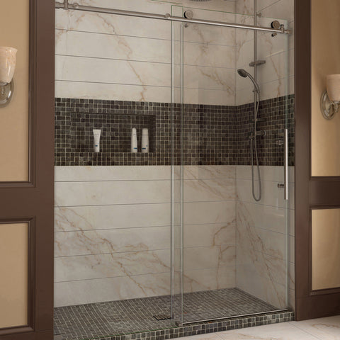"DreamLine SHDR-61607610-07 Enigma-X 56 to 60"" Sliding Shower Door, Clear 3/8"" Glass, Stainless Steel Finish - Mega Supply Store - 1"