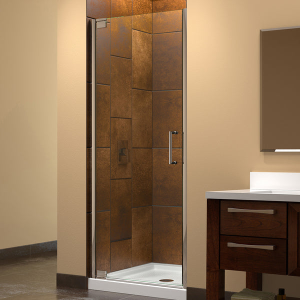 "DreamLine SHDR-4125720-01 Elegance 25 1/4 to 27 1/4"" Frameless Shower Door, Clear 3/8"" Glass, Chrome Finish - Mega Supply Store - 1"