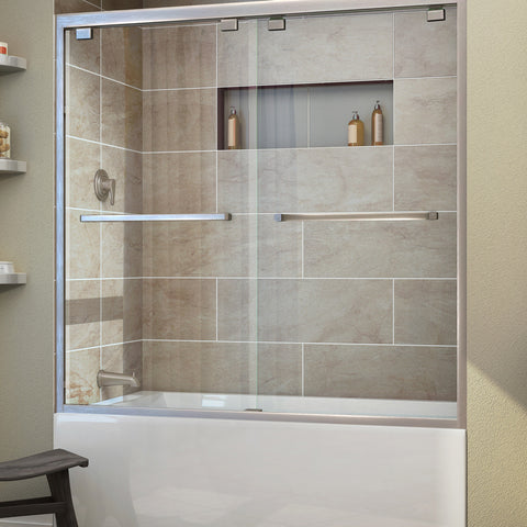 "DreamLine SHDR-1660580-04 Encore 56 - 60"" W x 58"" H Bypass Sliding Tub Door in Brushed Nickel - Mega Supply Store - 1"