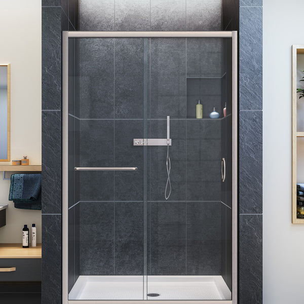 "DreamLine SHDR-0948720-04 Infinity-Z 44 to 48"" Sliding Shower Door, Clear Glass, Nickel Finish - Mega Supply Store - 1"