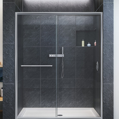 "DreamLine SHDR-0960720-01 Infinity-Z 56 to 60"" Sliding Shower Door, Clear 1/4"" Glass, Chrome Finish - Mega Supply Store - 1"